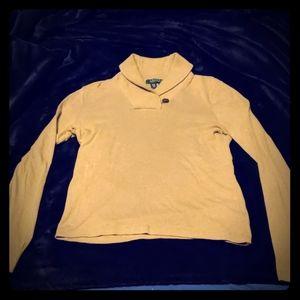 Ralph Lauren size S tan sweater w/button at neck